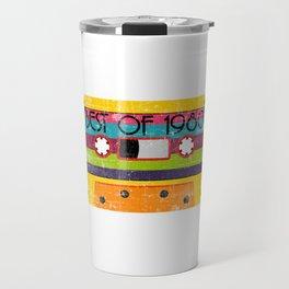 "Neon 80's Design A Colorful 80's Design Saying ""Best Of 1980"" T-shirt Design Vintage Old Fashion Travel Mug"