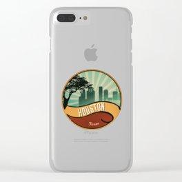Houston City Skyline Texas Retro Design Vintage 80s Clear iPhone Case