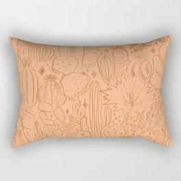 Cactus Scene in Orange Rectangular Pillow