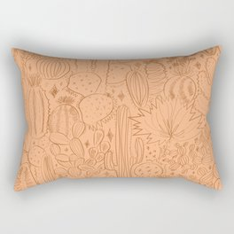 Cactus Scene in Orange Rectangular Pillow