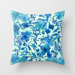 blue pretty flowers  https://society6.com/clemm?promo=X9B3VVZDM7J6 Throw Pillow