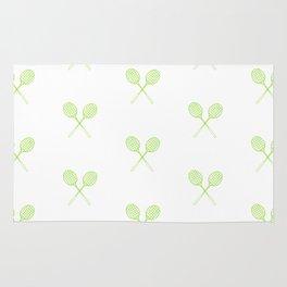 Lime Green Badminton Racket Pattern in Criss Cross Rug