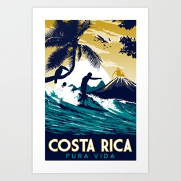 costa rica vintage retro surfing Art Print