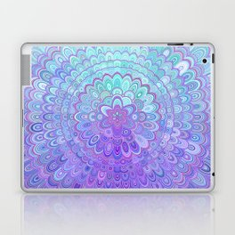 Mandala Flower in Light Blue and Purple Laptop & iPad Skin