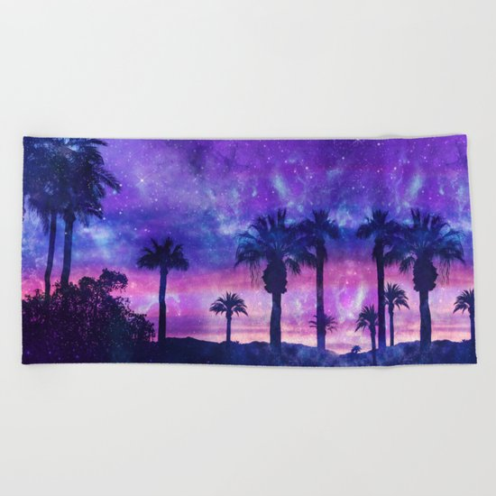 Palm Beach Galaxy Universe Watercolor Beach Towel