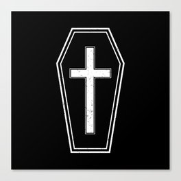Classic Horror Distressed Gothic Coffin Canvas Print
