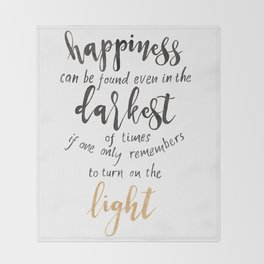 Dumbledore Quote | Happiness can be found... | Watercolor Throw Blanket