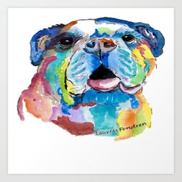 Blissful Bulldog Art Print