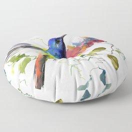 Hummingbird, tropical Foliage, Hawaiian design, tropical, colors Floor Pillow