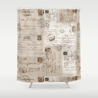letters Shower Curtains featuring Old Letters by LebensART