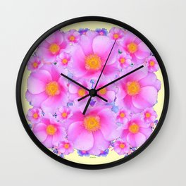 Pink ROSES & CREAM COLOR ART Wall Clock