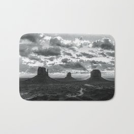 Southwest Wanderlust - Monument Valley Sunrise Black and White Bath Mat