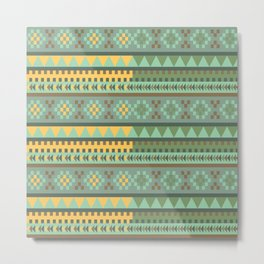 bezold effect traditional medium dimensional symmetrical different similar shapes triangle green yel Metal Print