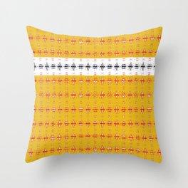 Diamond Plaid Gold Red Black Throw Pillow