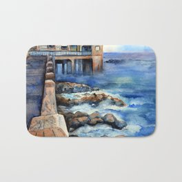 Walking with Steinbeck on Cannery Row Bath Mat