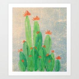 Cactus garden with orange flowers Art Print