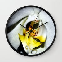 orchid Wall Clocks featuring orchid by  Agostino Lo Coco