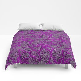 Silver embossed Paisley pattern on purple glass Comforters