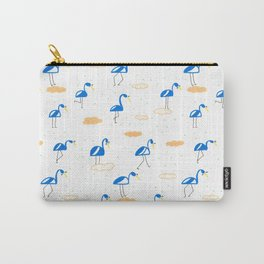 Blue Summer Flamingos Carry-All Pouch