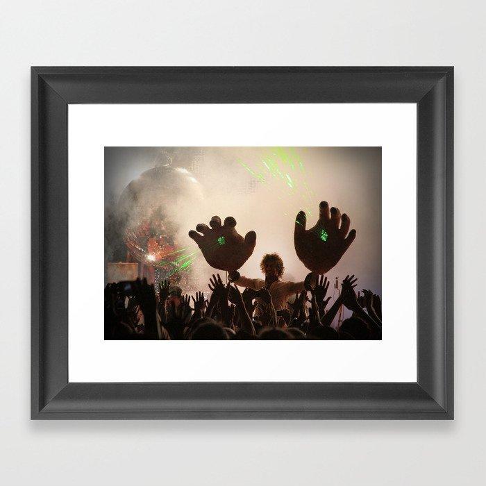 Flaming Lips Laser Hands Framed Art Print