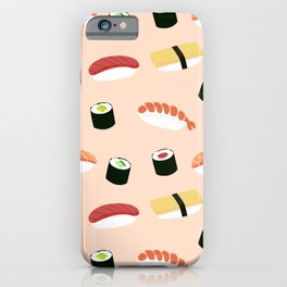 Lovely Japanes sushi drawing illustration on pastel background. Maki ands rolls with tuna, salmon, shrimp, crab. iPhone Case