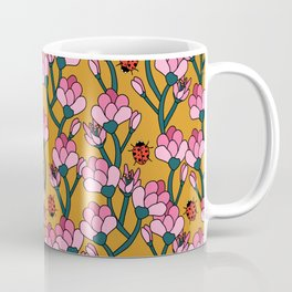 Flower Buds and Lady Beetles Coffee Mug