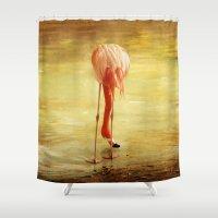 flamingo Shower Curtains featuring Flamingo by Kim Bajorek