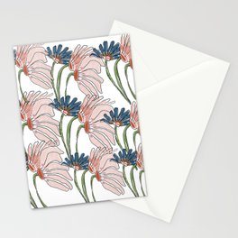 Floral Pink + Blue Stationery Cards