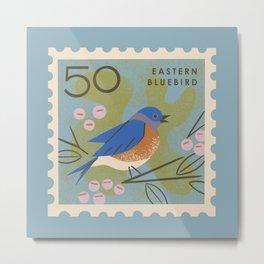 Bluebird Postage Stamp Metal Print
