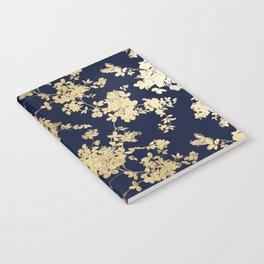 Elegant vintage navy blue faux gold flowers Notebook