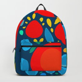 Blue Abstract Floral and decorative pattern Backpack