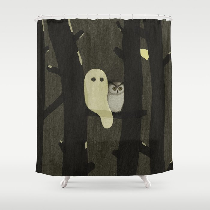 Little Ghost & Owl Shower Curtain