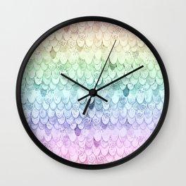 MAGIC MERMAID - PASTEL RAINBOW Wall Clock