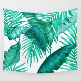 HAWAIIAN GARDEN TROPICAL LEAVES | turquoise white Wall Tapestry