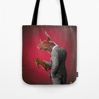bull Tote Bags featuring Bull by rob art | illustration