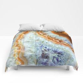 Crystalized Purple & Clear Quartz Slab with Orange Rust Comforters