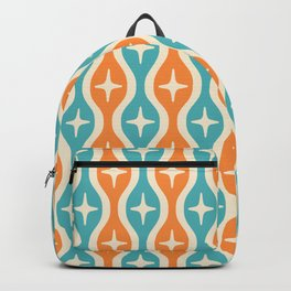 Mid century Modern Bulbous Star Pattern Orange and Turquoise Backpack