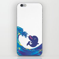 hokusai iPhone & iPod Skins featuring Hokusai Rainbow & Babydolphin by FACTORIE