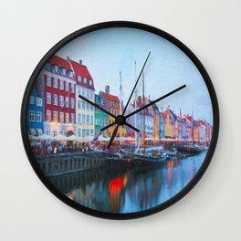 The Quay at Nyhavn, Copenhagen, Denmark Wall Clock