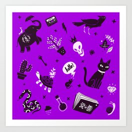 A cat, a skull and other stuff Art Print