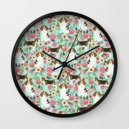Beagle floral pattern dog breed gifts must have beagles florals pupper Wall Clock
