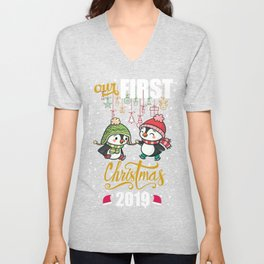Funny Our First Christmas 2019 Skating couple Penguins Unisex V-Neck