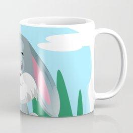 Cute grey sitting rabbit illustration Coffee Mug