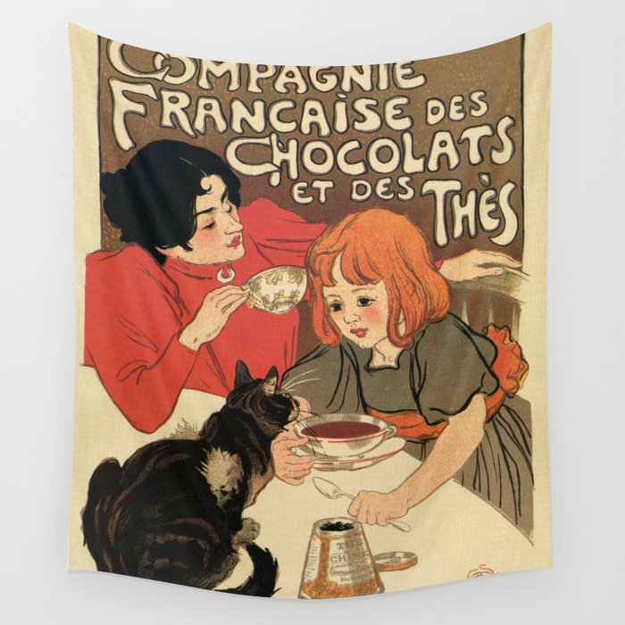 Vintage French tea and hot cocoa advertising Wall Tapestry