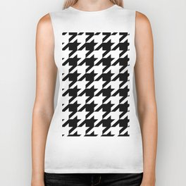 retro fashion classic modern pattern black and white houndstooth Biker Tank