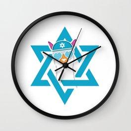 Happy Llamakah Jew And Christmas Person Gift Wall Clock
