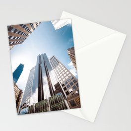 manhattan building low angle view Stationery Cards