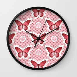 Chinoiseries Porcelain Butterfly Red Wall Clock