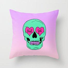 Bad Gal Skull Throw Pillow