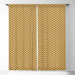 Deco Chinese Scallops, Mustard Gold and Brown Blackout Curtain